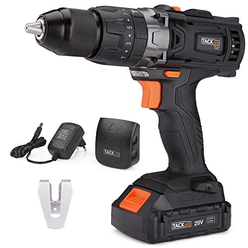 """TACKLIFE Cordless Drill 20V Max, 310 In-lbs, 16+3 Position, 2.0Ah Lithium-Ion Battery, 2 Variable Speeds, 1/2"""" Metal Chuck, impact drill with LED"""