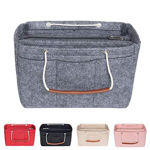 Soyizon Borsa Felt Bag Organizer Insert adatta per LV Speedy 30-40, inserto dell'organizzatore della borsa per totalizzatore con manici portachiavi (X-Large,grigio)