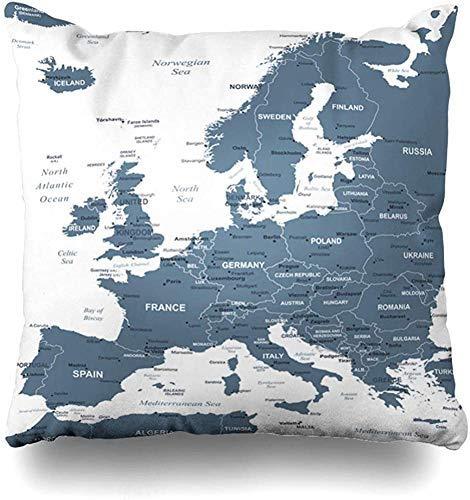 L.R.D 18X18inch Funda de Almohada Comunidad Gris Austria Mapa de Europa Detallado Dinamarca Bélgica Ciudades Capitales Ciudad País Funda de Almohada Funda de Almohada