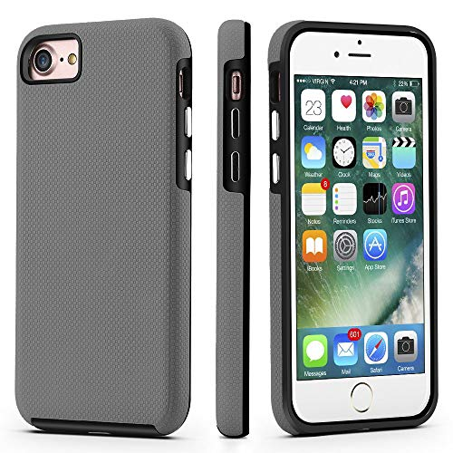 CellEver Dual Guard Protective Cover Compatible with iPhone SE 2020 Case/iPhone 7 Case/iPhone 8 Case, Shock-Absorbing Scratch-Resistant Rugged Drop Protection Cover (Slate)