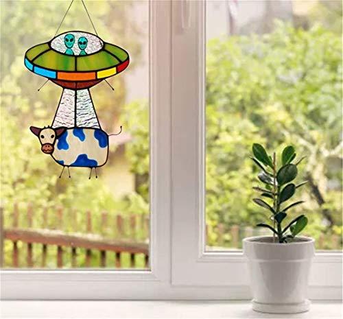 W Weiluogao UFO Cow Abduction Pendant Suncatcher, Panel de Ventana de Ovni de Vitrales, Creativo Colgante de Vaca Ovni AlieníGena, DecoracióN Colgante para Terraza, JardíN, Patio (1 Pieza)
