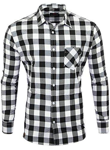 Reslad Hemd kariert Herren Vintage Holzfällerhemd Karo-Hemd Flanellhemd Männer Langarm Checked Flanell Shirt RS-7113 Schwarz-Weiß 2XL