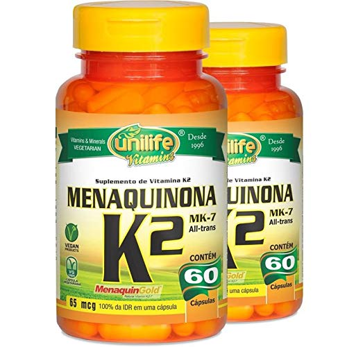 Kit 2 Vitamina K2 Menaquinona mk7 60 cápsulas Unilife