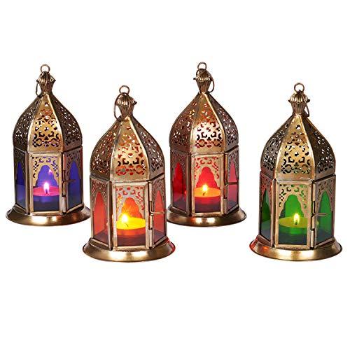 Orientalische Laternen 4 Set Laterne Basem bunt 16cm | 4x Orientalisches Windlicht aus Metall & Glas in 4 Farben | Marokkanische Glaslaterne für draußen als Gartenlaterne in Rot - Lila - Grün - Orange