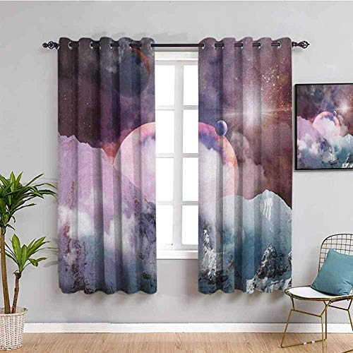LucaSng Blackout Curtain Thermal Insulated - Purple starry sky galaxy mountains - 92x54 inch for Bedroom Kitchen Living Room Boy Girl Window - 3D Digital Printing Eyelet Ring Curtain