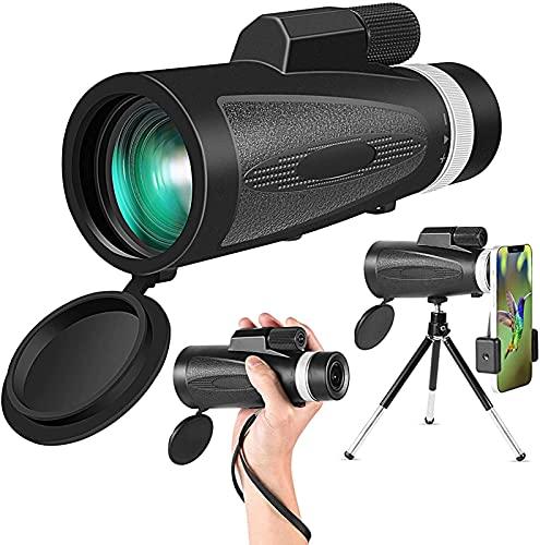 Telescopio monoculare con supporto per smartphone, monoculare 12X50 HD per adulti, cannocchiale monoculare impermeabile con specchio-BAK4 prisma FMC per birdwatching Escursionismo Campeggio Visite tur