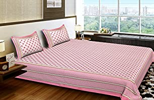 Bhagwatiudyog Cotton Block Print King Size Double Bedsheet with Pillow Cover (Pink)