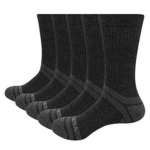 YUEDGE 5 Pares Termicos Calcetines de Algodón para Hombre Calcetines de Montaña Senderismo talón y puntera reforzados almohadilla Transpirable Trabajo Botas Calcetines Gris L