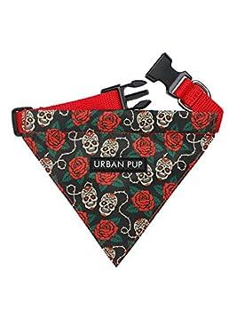 UrbanPup Bandana tête de mort et roses (petit – Circonférence du cou du chien, réglable : 20 cm à 28 cm)