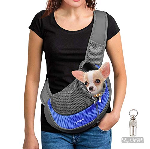 Lynkaye Pet Dog Sling Carrier Small Dog Cat Travel Bag Adjustable Strap Hands Free Pet Puppy Papoose Bag with Stainless Steel Pet Name Identification Barrel Tube Collar ID Tags (Blue(up to 10 lbs))