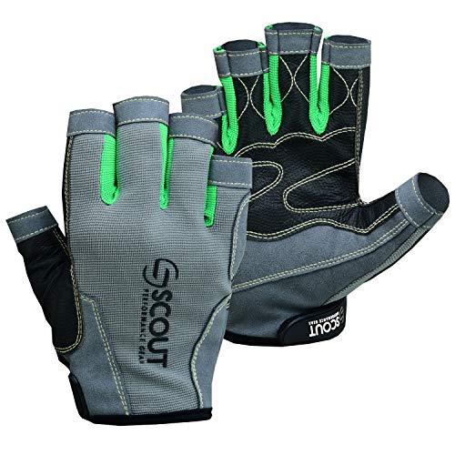 "SCOUTPERFORMANCEGEAR New Sailing Gloves Kayak Yachting Rope Dinghy Fishing Waterski Sports Dexter Series Green (Medium(7.5""-8.5""))"