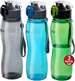 MILTON Kids Water Bottle 3 Pack Triton 25 Oz Large Sports Water Bottle for Men, Women, Kid Wide Mouth Water Bottle with Strap Carry Handle for Bike Gym Running Cycling Multi Color (Rock Set)