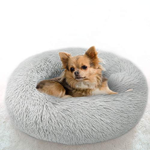 Cat Beds for Indoor Cats Clearance, Cat Bed Round Donut Cuddler Dog Bed for Small Dog and Cat Fluffy Pet Sofa Cushion for Snuggle Puppy Washable Self-warming Soft Plush Marshmallow Cat Bed 50cm Grey