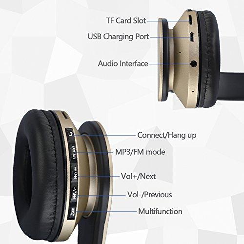 JIUHUFH Casque Bluetooth sans Fil Pliable avec Micro Intégré/Micro SD/TF/FM Radio/Lecteur MP3/Audio 3,5 mm pour iPhone Android Téléphones/Tablettes/TV/PC/Mac (Or)