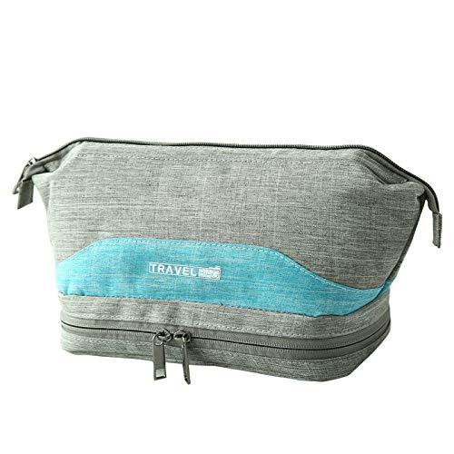 valigia morbido morbida Giddah Grande appesa borsa da toilette impermeabile con scomparto e zip, Beauty Case da viaggio (Grey)