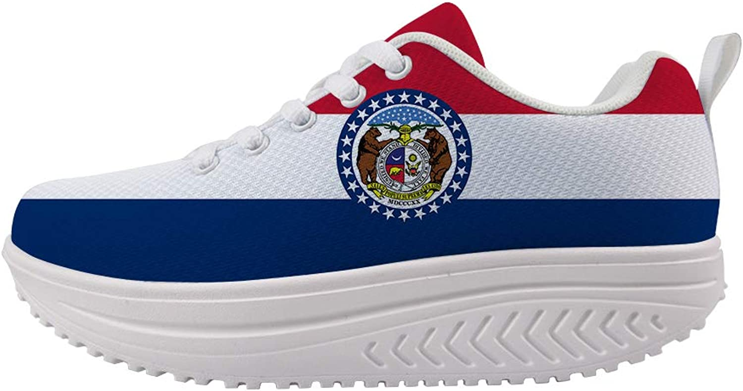 Owaheson Swing Platform Toning Fitness Casual Walking shoes Wedge Sneaker Women The Show Me State Missouri Flag