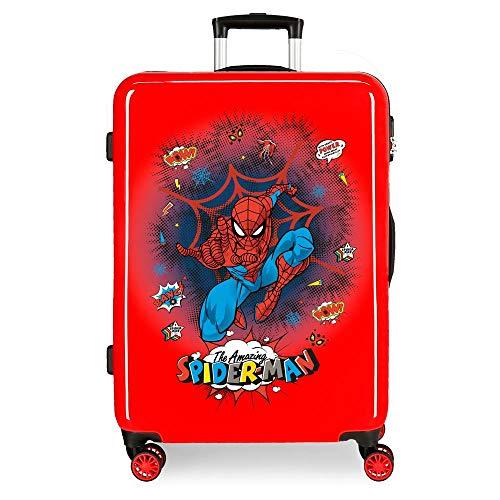 Marvel Spiderman Pop Maleta Mediana Rojo 48x68x26 cms Rígida ABS Cierre combinación 70L 3,7Kgs 4 Ruedas Dobles