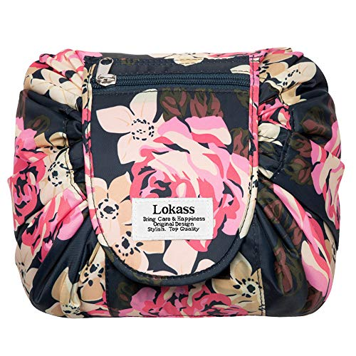 AINOT Trousse cosmetica portatile di grande capacità, custodia pieghevole da viaggio, borsa per bagaglio a mano, peonia blu
