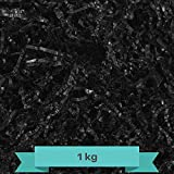 Creative Deco 1 kg Negro Papel Triturado Kraft   Reemplazo de Lana de Madera   Relleno Material de Embalaje para Cesta, Caja, Paquete, Viene en Embalaje Azul
