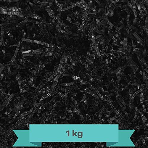 Creative Deco 1kg Schwarz Füllmaterial aus Papier | Papier-Schnitzel | Deko-Stroh für Zuhause | Verpackungs-Material für Weihnachts-Geschenke und Geschenk-körbe | KOMMT IN Blauer Tasche