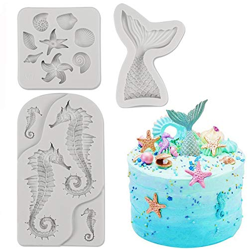 SAKOLLA Mermaid Theme Cake Fondant Mold - Seahorse Seashell Starfish Mermaid Tail Silicone Mold for Under The Sea Cake Decoration, Chocolate, Candy, Polymer Clay, Cupcake Decor, Sugar Craft