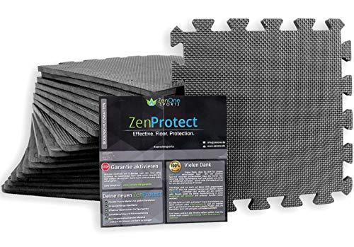 ZenProtect Schutzmatten, Set mit 18 Bodenschutzmatten für Sport, Fitnessgeräte & Trainingsräume, Unterlegmatte für Sportgeräte, Gewichthebe-Matte, 18 Puzzlematten à 30 x 30 x 1 cm (Grau)