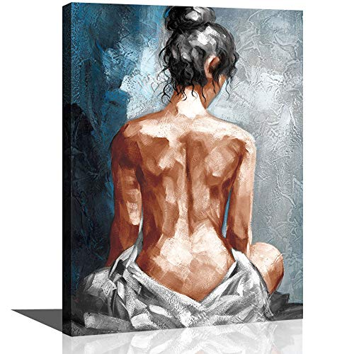 CANVASZON Canvas Wall Art for Bathroom Bedroom Decor Abstract Sexy Nude Woman Black White Blue Framed Wall Art Girls Room Decoration Modern Gift for Woman
