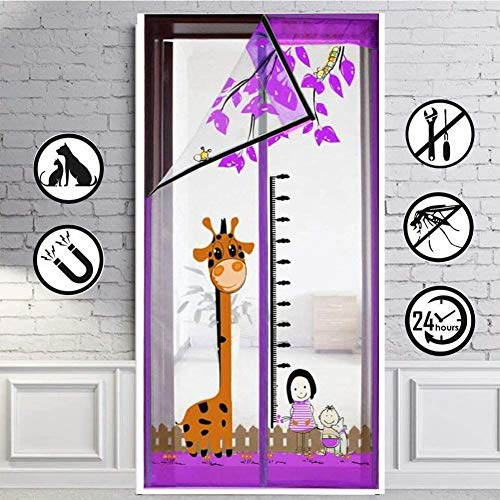 CYGJ Purple Fly Screens for Doors Heavy Duty 140x240cm / 55x94inches Outdoor Door Curtain for Doors Doorways Windows,Easy to Install Without Drilling