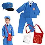 DRESS 2 PLAY Mailman Pretend Costume Dress Up Set with Accessories for Kids, 7 Piece Set (Mailman) Blue