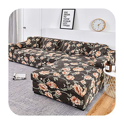 ZaHome Funda elástica para sofá de 2 piezas, con forma de L, para mascotas, antideslizante, de esquina, chaise longue, sofá seccional, color 4-3 plazas, 190-230 cm1 pieza