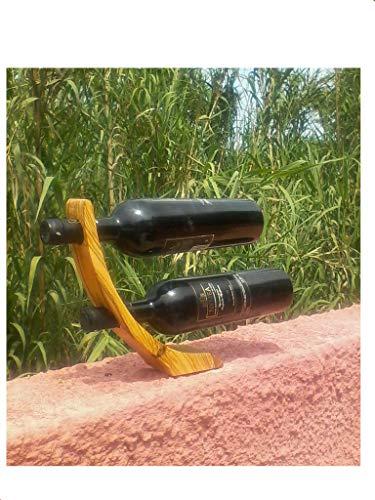 Soporte para 2 botellas, madera de olivo curvada, diseño contemporáneo, para decoración del hogar o la cocina (1 soporte para botellas).
