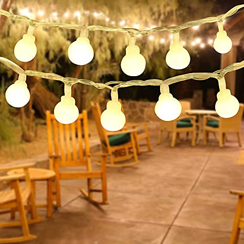 BIGHOUSE Garden String Lights Outdoor Waterproof - 50 LED 26.2ft/8M Fairy Lights with 8 Modes, Globe String Lights with Memory Function for Home Patio Yard Party Festival Wedding, Warm White, Plug in