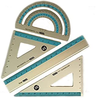 Aluminum Ruler Mathematic Geometry Set, 4 pieces of Drawing Accessories for design, graphic, examination, math or painting