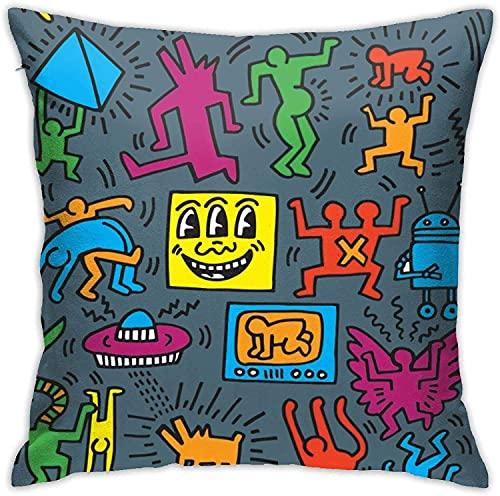 Keith Haring 962 - Federa decorativa per cuscino da letto, per divano, camera da letto, decorazione per la casa, 45 x 40 cm