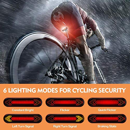 #N/A USB Bike Light with Remote Control Fits on Any Road Bikes - 6 modes: full brightness/Fast Flash/Flowing Light/Turn Left/Turn Right/Ground Line