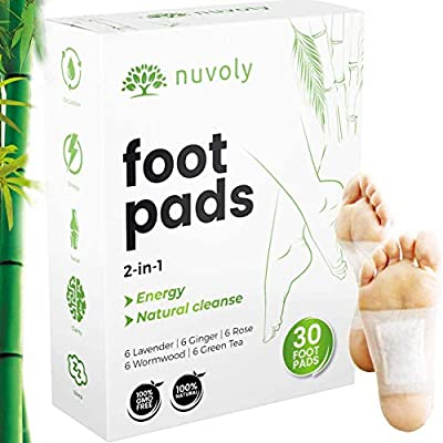 Foot Pads, 30 Pack, All Natural and Organic Formula, Upgraded 2 in 1 Patches (1 Pack (30 Foot Pads)) by Nuvoly