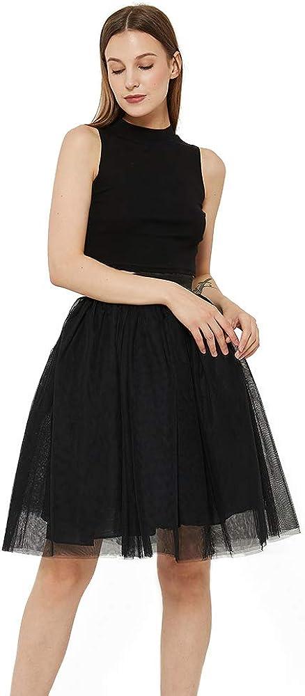 WEISIPU Women's 6 Layer Short A Line Elastic Waistband Tutu Tulle Prom Princess Midi Dance Skirt …