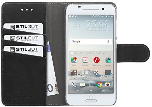 StilGut Talis, Hülle mit Standfunktion & Kreditkartenfach für HTC One A9, Schwarz Vintage