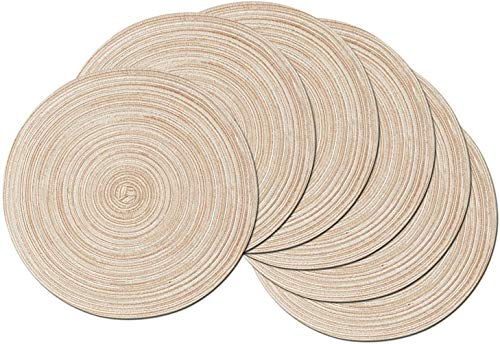 SHACOS Round Braided Placemats Set of 6 Washable Round Placemats