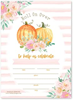 Hadley Designs 25 Watercolor Pumpkin Kids Fall Party Invitations, Pumpkin Give Thanks Let's Celebrate Friendsgiving Vintage Thanksgiving Rustic Pink Striped Floral Invites, Harvest, Printable Template