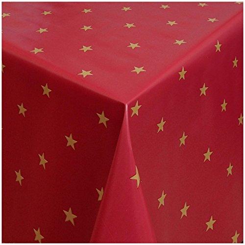 TEXMAXX Wachstuchtischdecke Wachstischdecke Wachstuch Tischdecke abwaschbar (1280-03) - 100 x 140 cm - PVC Tischdecke abwischbar, Weihnachten in Rot-Gold