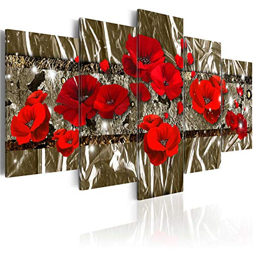 TXFMT Geen Frame Canvas Decoratie Schilderen Handgemaakte DIY Diep rode Bloemen Zwart en Wit Achtergrond Prints op Doek Het Landschap Foto's Olie voor Thuis Moderne Decoratie Print Decor voor Woonkamer 200*150CM