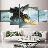 ADGUH Cuadro sobre LienzoHd Print Canvas Picture Wall Art 5 Set Juego de Tronos Fire Dragon Dracarys Painting Home Decor Living RoomImpresiones en Lienzo