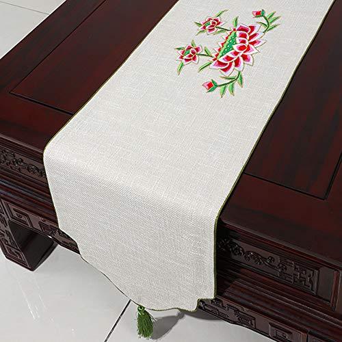 Meuble de télévision, Tissu pour Couvre-Chaussures, Nouveau Tissu de thé Zen, Drapeau de Table en Lin de Coton, Tissu rectangulaire(B; 33 * 300cm)