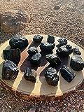 Ripple Stream Raw Black Tourmaline Stone 2 Pieces Rough Stones, Metaphysical Healing, Chakra Balance (1 1/4' - 1 1/2' crystalline)
