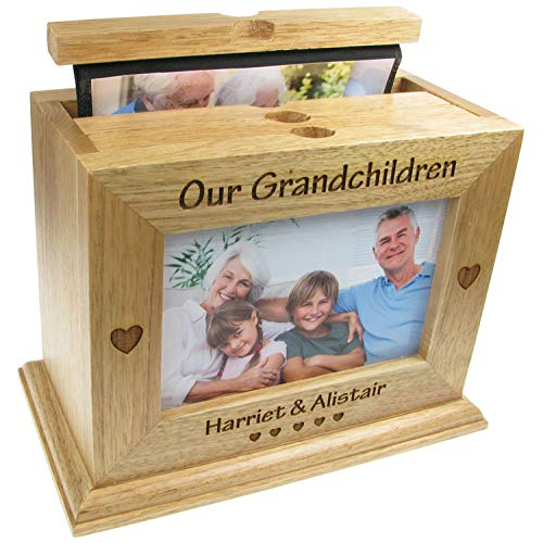 Engraved Our Grandchildren Xmas Gift Oak Photo Box Nan Granddad Gifts