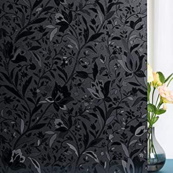 Total Blackout Window Film,100% Light Blocking Glass Door Film Etched Tulip,Room Darkening Window Cling,No Glue/Heat Control/Anti UV for Day Sleep & High Privacy,35 inches by 118 inches