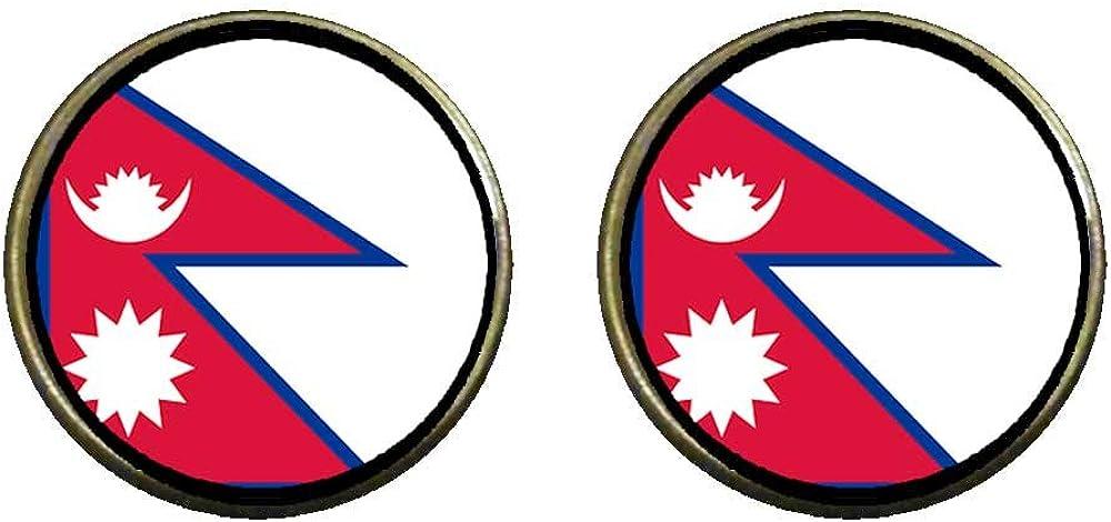 GiftJewelryShop Bronze Retro Style Nepal flag Photo Clip On Earrings 14mm Diameter
