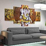 45Tdfc Lienzo en Cuadro Abstracto Moderno200x100cm Impresión Animal Elefante religión Lord Ganesha 5 Piezas Material Tejido no Tejido Impresión Artística Imagen Gráfica Decoracion de Pared Arte