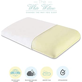 "The White Willow Orthopedic Memory Foam King Size Neck & Back Support Sleeping Bed Pillow (24"" L x 15"" W x 5"" H) -Off White"